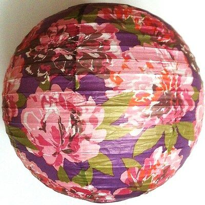 "12"" (30cm) FLORAL Easy-Fit PAPER LAMP SHADE - PINK PURPLE - BEDROOM LOUNGE"