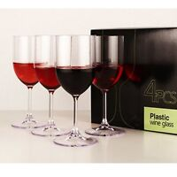 4cup Portable Plastic Acrylic Wine Glasses Set Camping Travel Picnic Party Goods