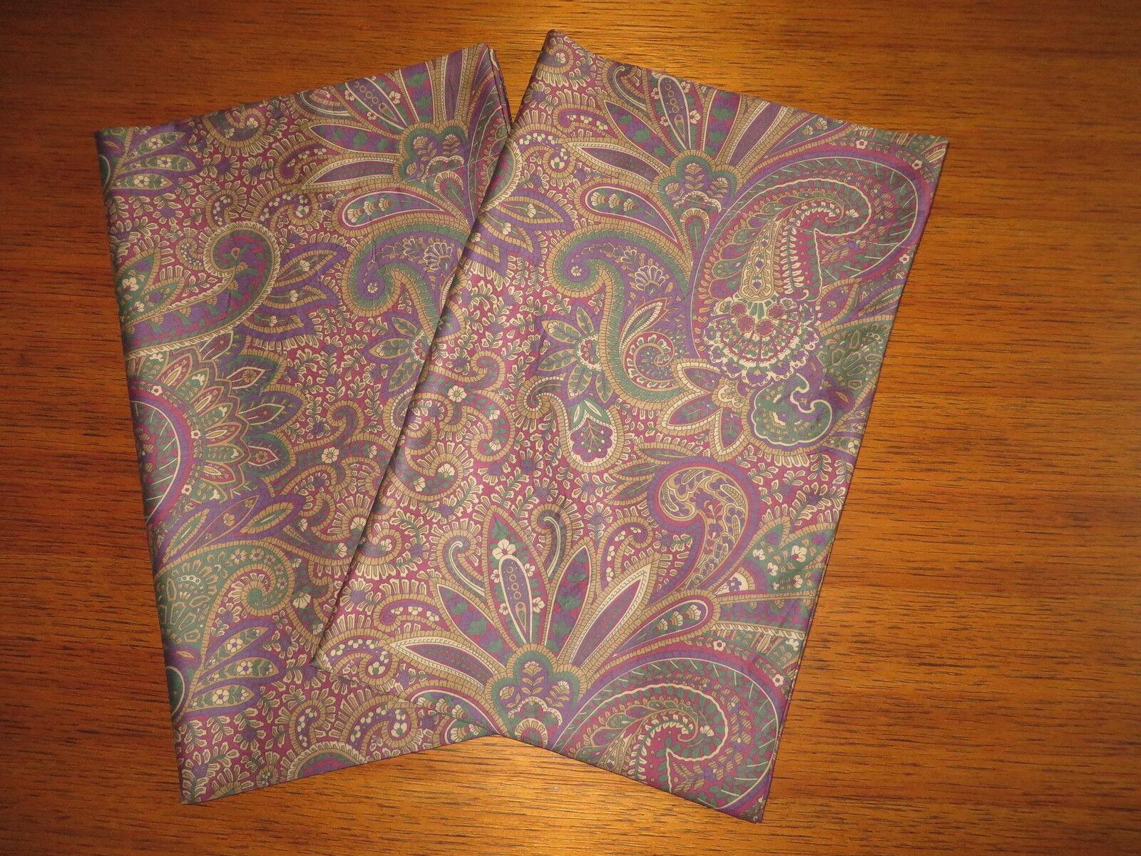 2 Standard Pillowcases Set two new Ralph Lauren BOHEMIAN PAISLEY Fabric