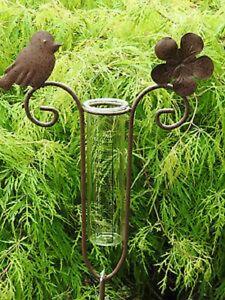 Regenmesser-Flower-23380-Vogel-Gartendeko-Beetstecker-Metall-Edelrost-Glas