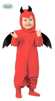 Baby Teufel Kostüm für Kinder Karneval Halloween Hörner Hölle Feuer Gr 86-9