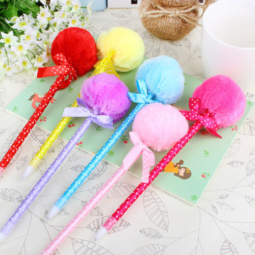 Creative 4pcs//set Adorable Fluffy Blue Ink Pens Cute Princess Ballpoint Ball Pen