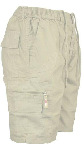Mens Plain Elasticated Summer Shorts Cargo Cotton Blend Combat 30-48 M-6XL