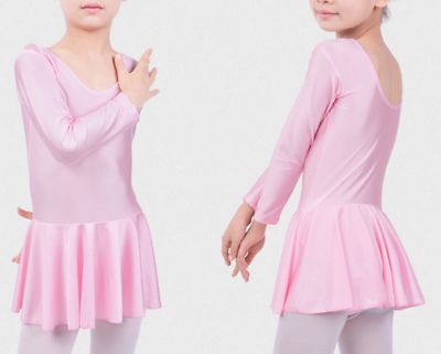 Adattabile Manica Lunga Ragazza Bambini Danza Balletto Abito Maglia Vestito Danza Classica Con Gonna Rosa-