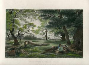 Inglaterra-Wood-Cutting-IN-Windsor-Forest-Engraving-By-T-A-Prior-1851