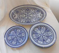 Rare VINTAGE ANTIQUE 19th CENTURY Ironstone BLUE & WHITE SERVING PLATTER Plates
