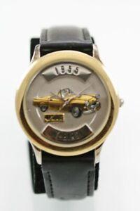 Relic Reloj Hombres 1955 T-Bird Inoxidable Plata Oro Cuero Negro Batería Cuarzo