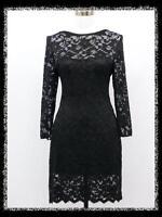 dress190 Schwarz Spitze Sexy 3/4 Ärmel Cocktail Formal Partei Kleid Größe 36