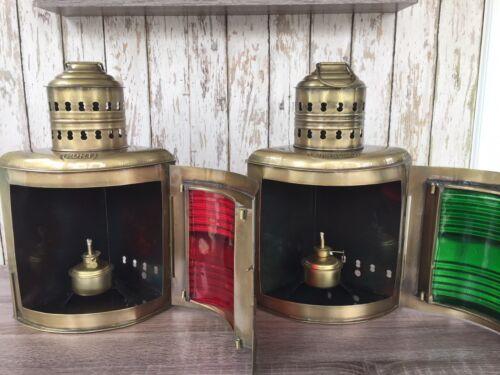 "14/"" Antique Brass Finish Port /& Starboard Lanterns ~ Ship Oil Lamp ~ Nautical"