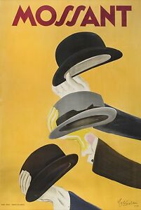 mossant-hats-vintage-yellow-ART-A1-SIZE-PRINT-canvas-painting-poster