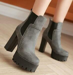 Retro-Womens-Platform-Round-toe-Pull-On-Ankle-Boots-Casual-High-Block-Heel-Shoes