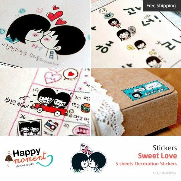 Sweet Love Stickers Album Diary Card Calendar Label Scrapbooking Crafts 5 sheets