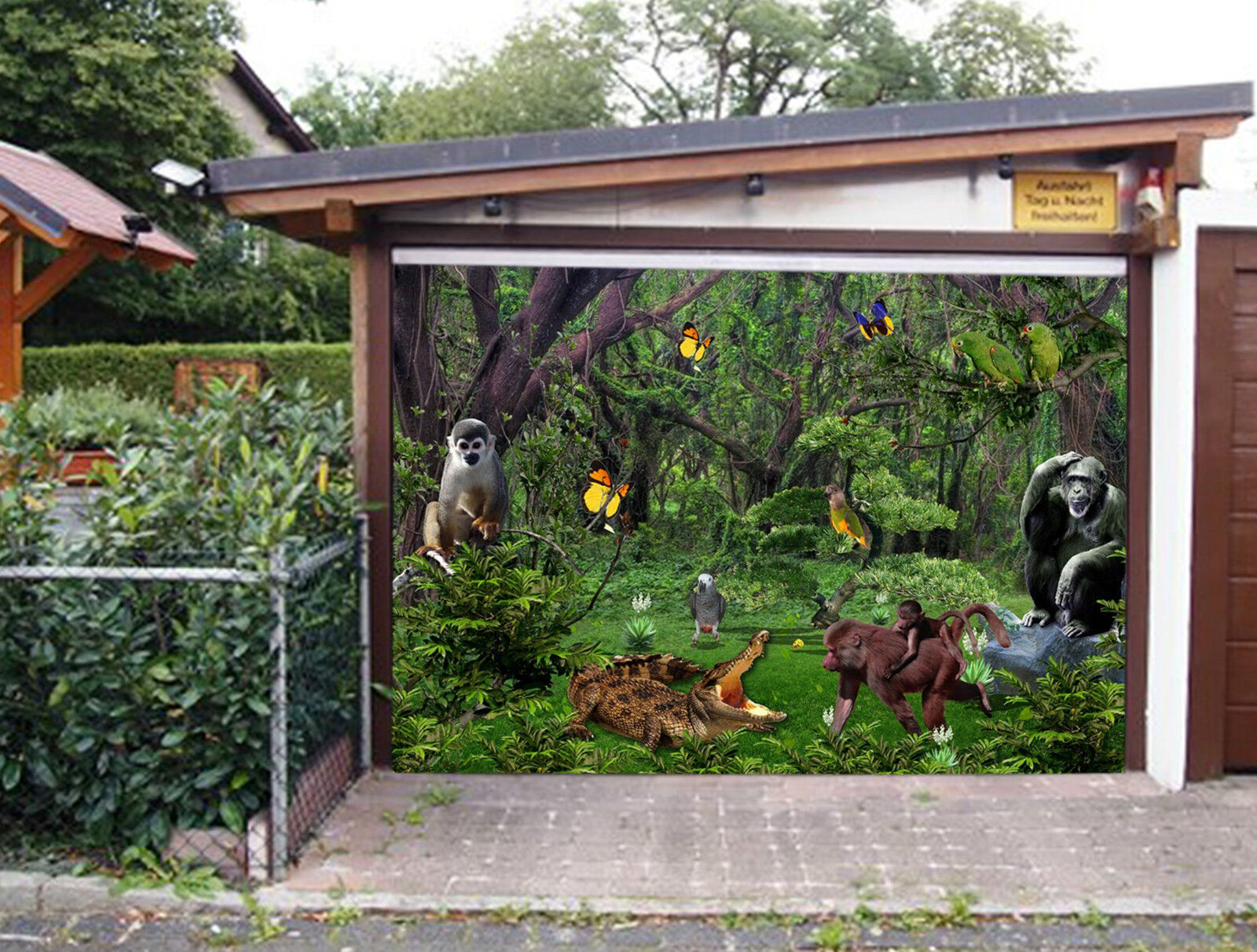 3D Forest Animals Garage Door Murals Wall Print Decal Wall Deco AJ WALLPAPER IE