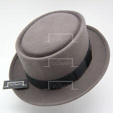 Wool Felt Pork Pie Flat Top Hat Men Unisex | 57cm | Grey | VINTAGE x FORMAL