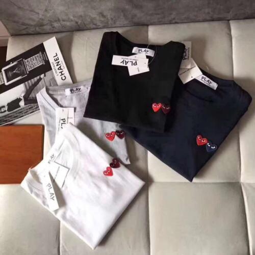NEW Men/&women CDG Play double heart blue Wine red heart cotton 4 colour T-shirt