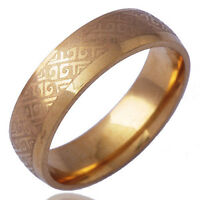 Simple Vintage mens Band Ring  18K Gold Plated Size 11#