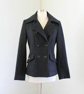 Guess-Dark-Gray-Wool-Blend-Peacoat-Jacket-Coat-Size-S-Womens-Double-Breasted