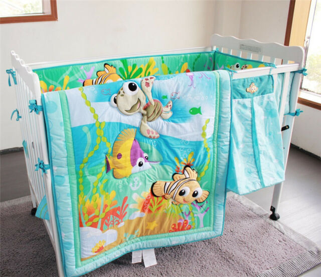4pcs Nemo Fish Baby Crib Nursery Bedding Set Quilt Per Sheet Skirt