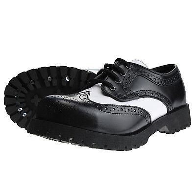 Boots And Braces Budapester Schwarz Weiß Weiss Leder Schuhe 4-loch Stahlkappe Durchblutung Aktivieren Und Sehnen Und Knochen StäRken