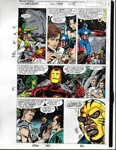 1991-Avengers-Marvel-color-guide-art-page-Captain-America-Thor-Iron-Man-She-Hulk