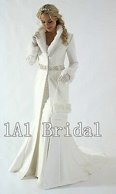 Hot Sale Wedding Bridal Coat Long Sleeves 4/6/8/10/12/14/16 White Ivory in Stock