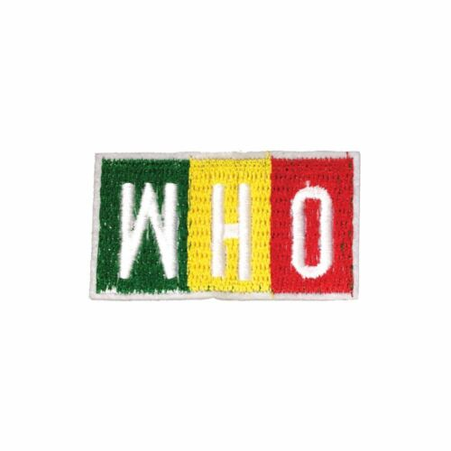 Embroidery Applique Patch Sew Iron Badge Iron On WHO Text