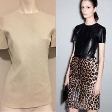 Rare Celine Pre-Fall 2011 Off White Leather T Shirt Sz 40 S