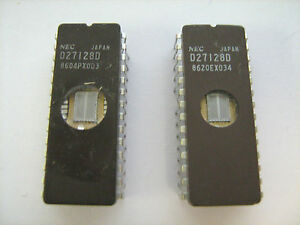 NEC-d27128d-IC-DIP-28-Pin-8-Bit-EPROM-Integrated-Circuit-Menge-2-PCs-getestet