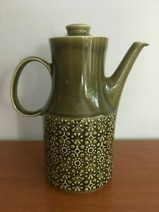 Vtg-MCM-Connemara-Celtic-Irish-Fine-Earthenware-Coffee-Pot-Olive-Green-Ceramic