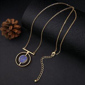 Ladies simple round stone pendant alloy necklace long chain ladies simple round stone pendant alloy necklace long chain fashion women aloadofball Choice Image