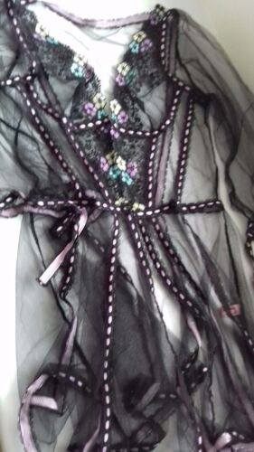 Black Rare Petunia Robe Size Sexy No Labels Negligee Sheer Agent Provocateur RFwxTFg