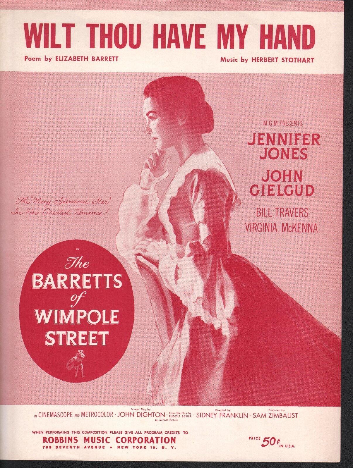 Wilt tú tienen mi mano Jennifer Jones Jones Jones el Barretts de Wimpole Street Partituras  precio mas barato