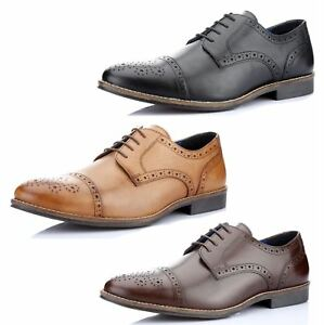 1f456eb9ba5 Red Tape Claydon Mens Leather Lace Up Brogue Formal Shoes Tan Brown ...