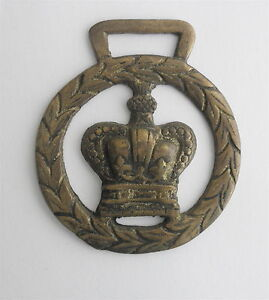 Victorian-Brass-SADDLE-Decoration-Royal-Crown-in-a-Wreath