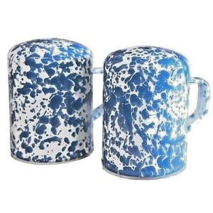BLUE-and-WHITE-Enamelware-Large-Range-Salt-Pepper-Shakers-Set-NEW-S-P-w-Handles