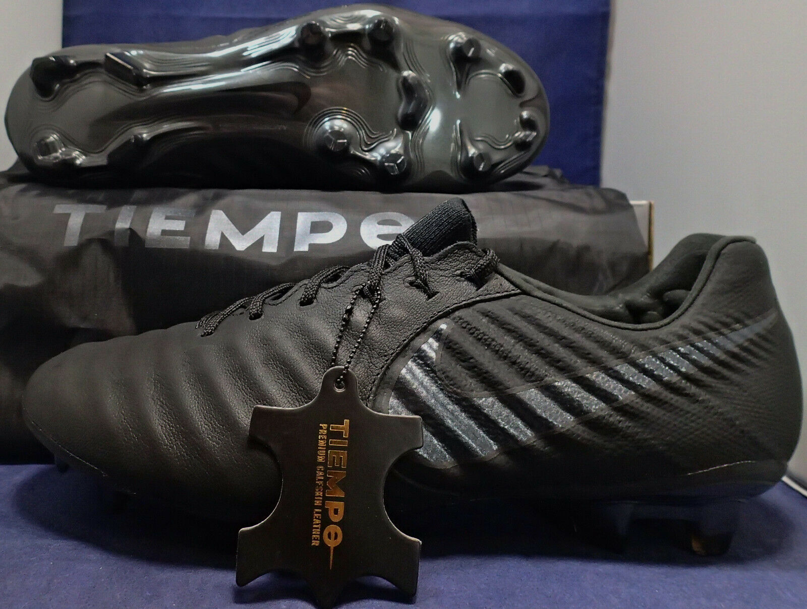 Nike tiempo legend 7 vii elite black leather calf fg cleats size us 8 (