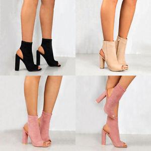 901143ae6 Women's Ladies Block Pumps Peep Toe Side Zip Ankle Boots High Heels ...