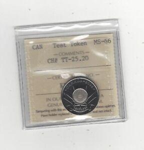Canada, Test Token TT-25.20 (New # TT-25.25) ¢25 ICCS Graded **MS-66**
