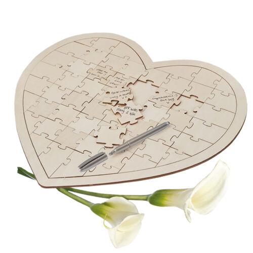 Gästebuch Holz Puzzle Holzherzen 56 Herzen Herzrahmen Hochzeitsbuch Boho