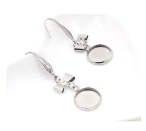 12mm Drop Earring Hooks Wire Setting Cabochon Earring Blank Trays Jewelry Making
