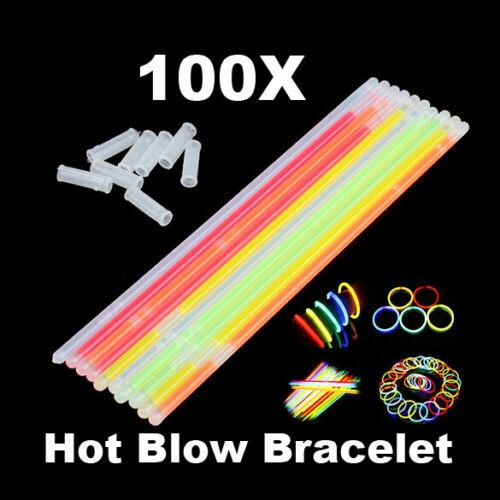 100pcs Neon Fluorescence Sticks Glow in The Dark Luminous Party Supplies