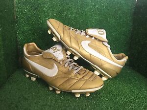 purchase cheap 700ae c913d Details about NIKE TIEMPO R10 RONALDINHO GOLD SOCCER SHOES Size 11,5 10,5