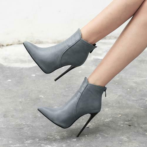Details about  /Womens Pointy Toe Stiletto High Heels Casual back Zipper Ankle Boots Party Shoes