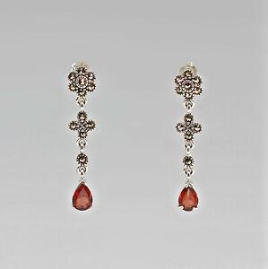 9907295-925er-Silber-Ohrringe-mit-Granat-und-Markasiten