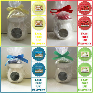 Details About White Oil Burner With 2 Yankee Candle Wax Tart Melts Ideal Birthday Gift Set