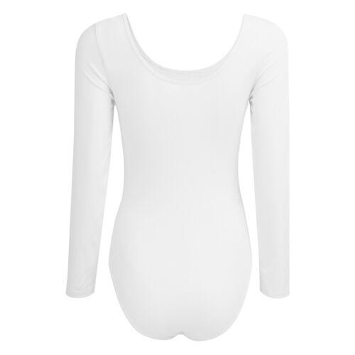 Womens Long Sleeve Dance Sports Leotard Gymnastic Ballet Costume Cotton Bodysuit