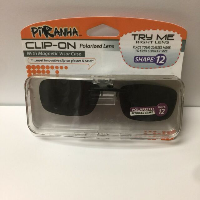 3c44eb7e38b 2 Pair Piranha Polarized Clip-on Lens Sunglasses With Visor Case 100 ...