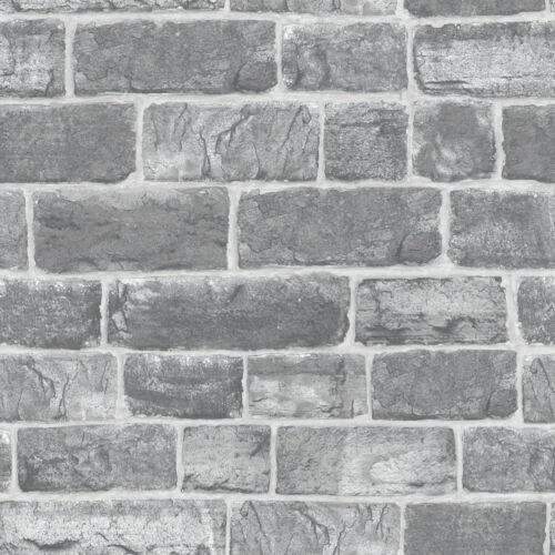 Grey Urban Faux Brick // Stone 217346 Luxury Wallpaper Rasch Feature Wall