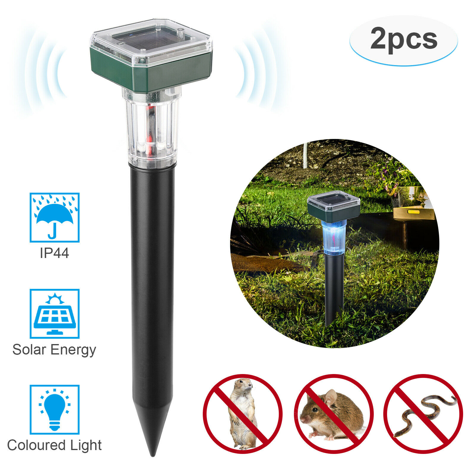 2pcs Mouse Insect Repeller Solar Light Tile Tools Farm IP44 Waterproof Lawn Lamp