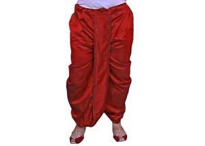 Indio Etnico Ropa Hombre Seda Dhoti Listo Cosido Pantalones Pantalon Granate Ebay